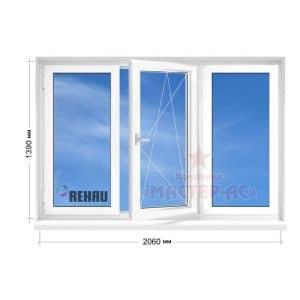 окно рехау трехстворчатое
