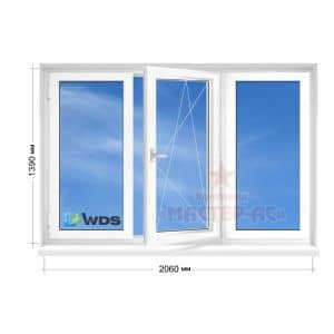 окно вдс трехстворчатое